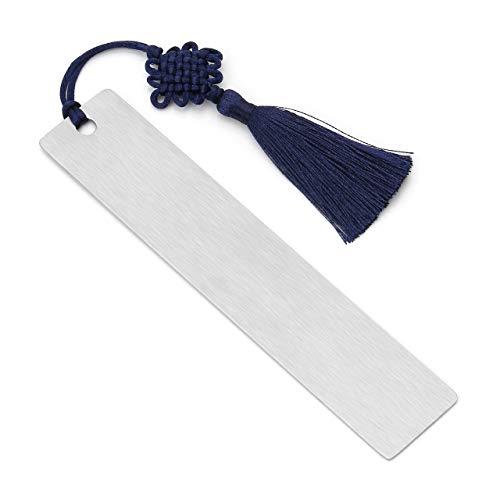 PiercingJ, segnalibri personalizzati, in acciaio INOX, 25 x 125 mm, targhetta con nodo celtico blu, porta pagina, segnalibro, segnalibro, cancelleria, regalo per ragazze, adulti Non Engraving