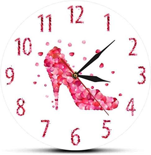 Reloj de Pared Pétalo de Rosa Rosa Zapatos de tacón Alto Reloj de Pared silencioso Arte de Pared Rosa Mujer Dormitorio Decoración del hogar Decoración para el hogar Reloj de Pared Colgante Silencioso