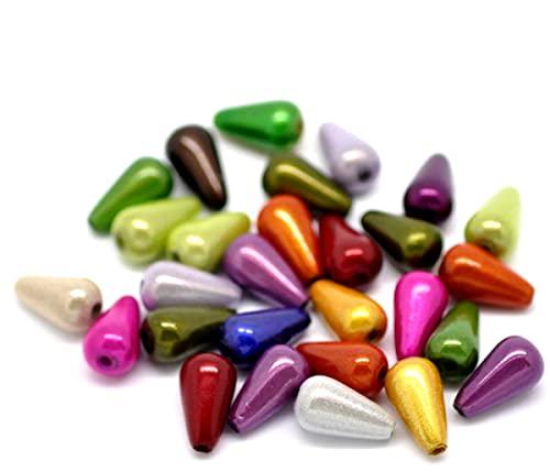 Sadingo Acrylperlen Tropfen 200 Stück 10mm, Miracle Perlen, Kunststoffperlen zum Basteln, Armband Perlen, Bastelperlen