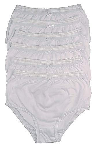 cottonique Mujer 6 PARES DE Completo Algodón Calzoncillos en colores a elegir 36-54' Tallas Grandes - Blanco, XXXXXOS Hip Size 60-62' (151/157cms)