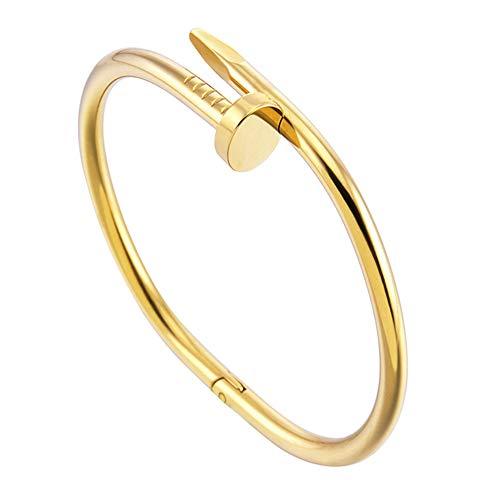 DSYYF Mode Titan Stahl Edelstahl Nägel Armband Silber Gold Armbänder Armreifen Punk für Frauen Männer Schmuck Persönlichkeit Stil,Gold,1