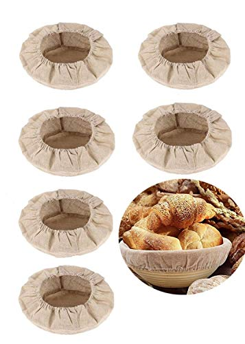 Banneton Proofing Cloth - Round Bread Proofing Basket Cloth Liner, Linen Liner Cloth for Bread Basket for Bakery Home Baking Professional and Kitchen Baking Bread Tools (6 Packs/10 Inch)