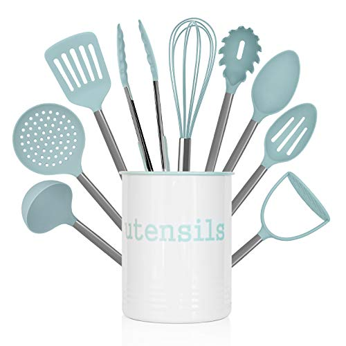 Country Kitchen 10 Piece Nylon Cooking Utensil Set with Holder, Kitchen Tools and Gadgets with Rounded Gunmetal Handles - Teal