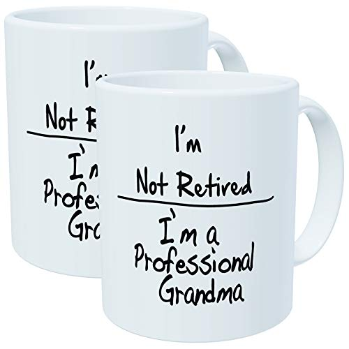 Pack of 2 - I'm not retired. I'm a professional grandma - 11OZ ceramic coffee...