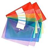 Yisscen Carpetas de Plástico,A4 Carpetas de Archivos,Carpeta Transparente con Botón a Presión,12 piezas con Etiqueta Carpeta de Sobres,Para Almacenamiento de Archivos