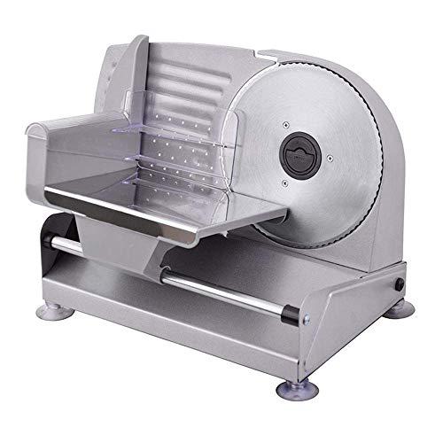 XBR Cortadora de Carne congelada, cortadora eléctrica de Acero Inoxidable de 0 a 15 mm de Grosor de Corte para Diferentes Alimentos como Carne, Pan, Verduras, jamón, Queso, etc, 220 V
