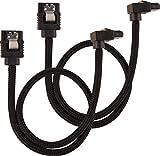 Corsair - Cable SATA Blindado Premium–SATA 6Gbps 30cm, conector A 90°, Negro
