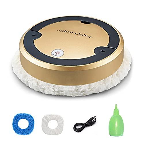 FDKJOK Robot Aspirador, Spray Humidify Smart Sweeping Robot, Aspirador doméstico Limpieza en húmedo y en seco, para suelos duros azulejos de pelo de mascotas (dorado)