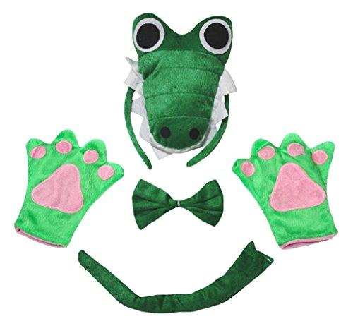 Petitebelle Guantes de cola de cocodrilo 3D diadema Bowtie niños Disfraz de 4 piezas Un tamaño Verde