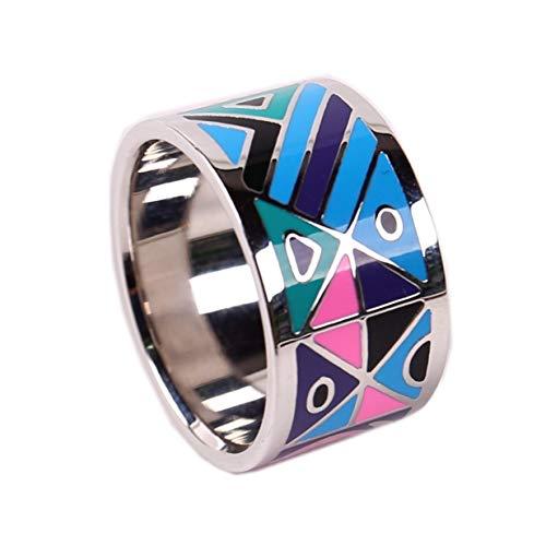 prettystern Farbenfroh Emaillierter versilberte Schal-Ring Tuch-Ring mit Samt Säckchen - Silber 2