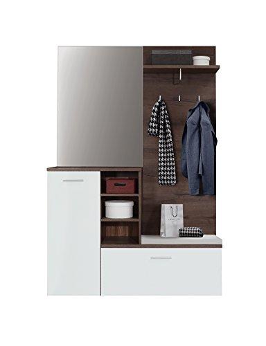 FORTE Kompaktgarderobe mit Sitzauflage und Spiegel, Holzwerkstoff, Schlammeiche Dekor + Weiß, B*T*H: 130.19 x 41.6 x 200 cm