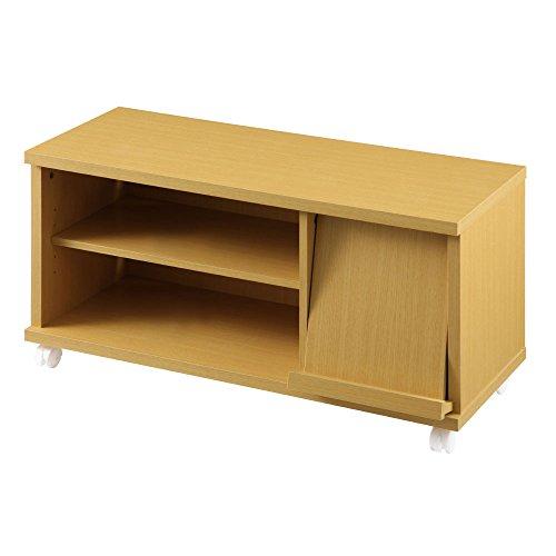 ぼん家具 テレビ台 32型 フラップ 扉付 キャスター ローボード 木製 幅88cm ナチュラル