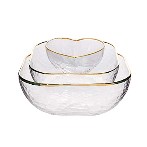 KXMYT Tableware Glass Serving Bowls Set of three, Space-Saving Stackable Containers with Golden Trim, Salad Bowl/Mixing Bowls/Cereal Bowls
