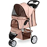 Paws & Pals 3 Wheeler Elite Jogger Pet Stroller Cat/Dog Easy to Walk Folding Travel Carrier, Beige