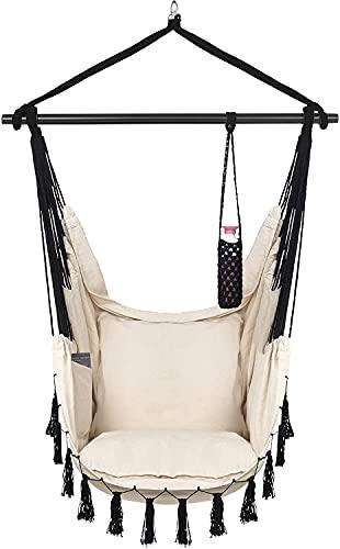VITA5 Hängesessel 2 Kissen, Getränkehalter & Bücherfach - XXL Hängestuhl für Erwachsene & Kinder -Belastbar bis 225 kg - Hängesitz für Indoor & Outdoor (Wohn & Kinderzimmer, Garten) (Beige)