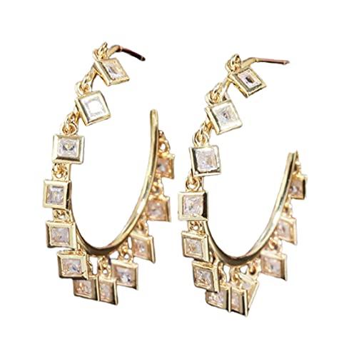 Pendientes de aro de oro con circonitas cúbicas brillantes y cuadrados para mujeres, mujeres y niñas