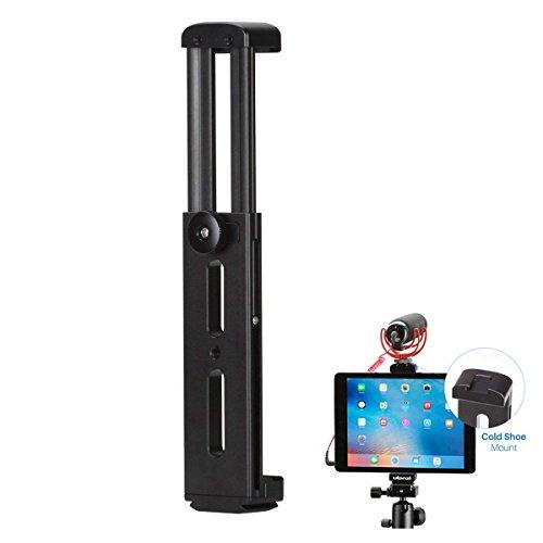 Ulanzi Soporte de trípode de aluminio con zapata fría compatible con iPad, soporte adaptador de trípode de tableta de metal