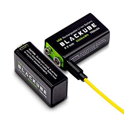 Blackube 9v Block Batterien 5500mWh 750mAh Lithium-Akku - 1,8 Stunden Schnellladung über Micro-USB-1000-Zyklen für Rauchmelder-Brandmelder-Multimeter