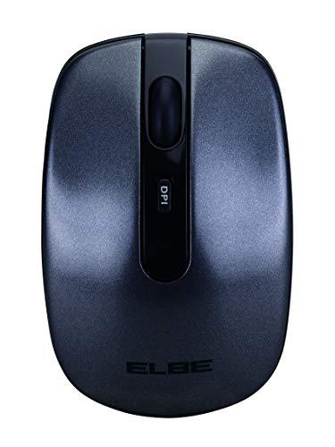 Elbe RT-101 - Ratón inalámbrico con bateria Recargable 400mah, se Puede Cargar con Puerto USB, powerbank, Cargador Pared USB, 1000, 1200, 1600 dpi, Negro