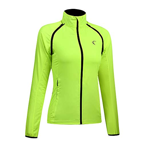 AXEN Women Convertible Cycling Jacket Windproof Water Resistant Softshell Yellow L