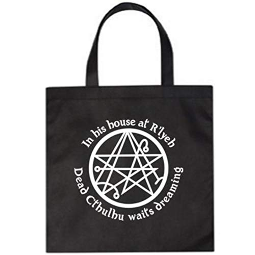 Call of Cthulhu Eldritch HP Lovecraft Elder Sign Sci Fi Horror Canvas Tote Bag Merch Massacre (Black)