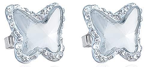 ENTREPLATA Pendientes Plata de Ley 925 Mujer Niña Mariposa Cristal Swarovski Color Blanco