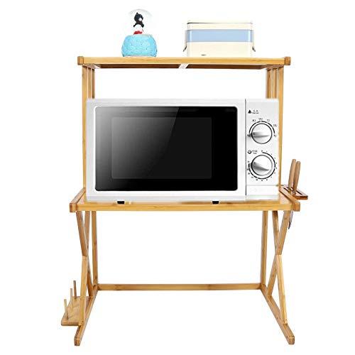 Soporte para Microondas Encimera, 2 Niveles Estante de Cocina de Bambú con Estante para Guardar Cuchillos, 59 x 39 x 72cm