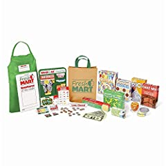 70-PIECE GROCERY STORE SET: The Melissa & Doug Fresh Mart Grocery Store Companion Collection contains 70 pieces of grocery store accessories kids 3 and older need to stock shelves and get shopping. ROLE PLAY ACCESSORIES: Children will enjoy hours of ...