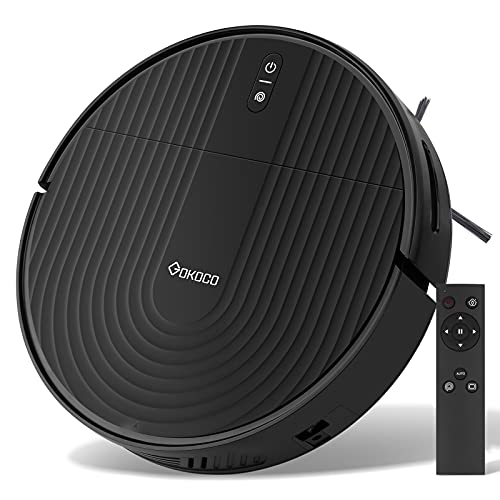 GoKoCo Robot Vacuum Cleaner,Auto Robotic Vacuums with Upgraded 2000Pa Strong Suction, Infrared Collision Sensor,Slim and Quiet Smart Cleaning Robot for Pet Hair, Hard Floor, Carpets,Remote Control