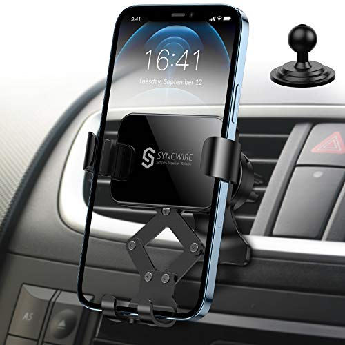 【2021最新版】Syncwire 車載ホルダー スマホホルダー 車 スマホ 重力式自動開閉 1台2役 スマホほるだー スマートフォンホルダー 車載スタンド エアコン吹き出し口用 クリップ式 落下防止 安定性抜群 iPhone12 mini / 12 /1