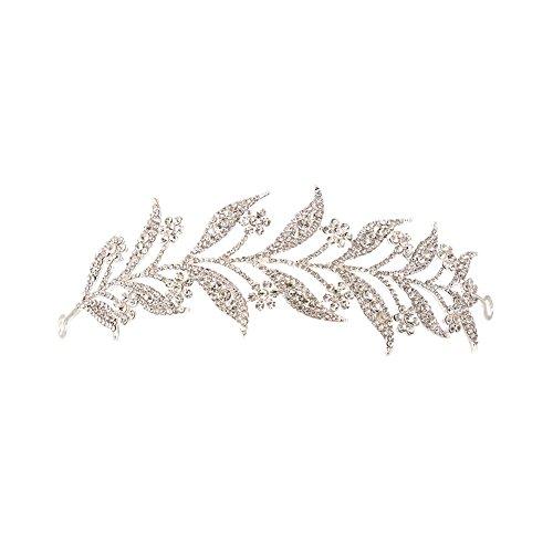 DaoRier Accesorio Tocado Pelo Novia Tiaras para el Pelo Boda Mujer Niña Tiaras de Rhinestone Size 16 * 5cm (Plata)