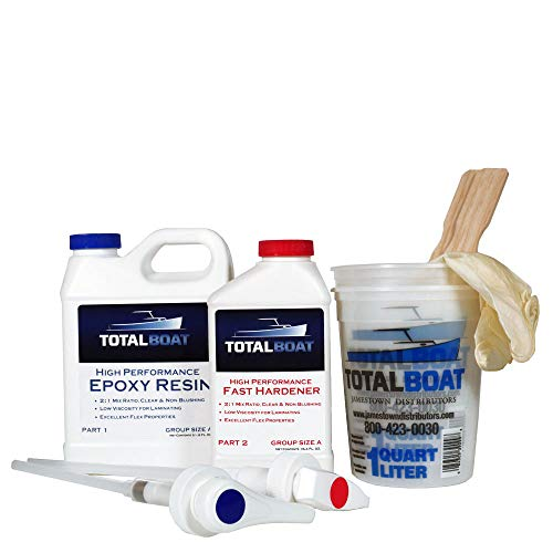 TotalBoat High Performance Epoxy Kit, Crystal Clear Marine Grade Resin and Hardener for Woodworking, Fiberglass and Wood Boat Building and Repair (Quart, Fast)