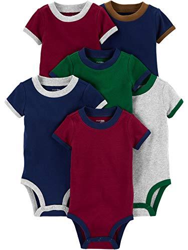 Simple Joys by Carter's 6-Pack Short-Sleeve Bodysuit Hemd, Burgunderrot/Grün/Marineblau, 12 Monate, 6er-Pack
