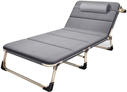 HYY-YY Chaise zéro gravité portátil, pliante inclinable, Iluminado Flexible renforcé épaissi Lit Flexible Verter déjeuner Lit Sencilla Oficina Lit Siesta 194x68x30cm (Color : Grey Bed+Mattress)