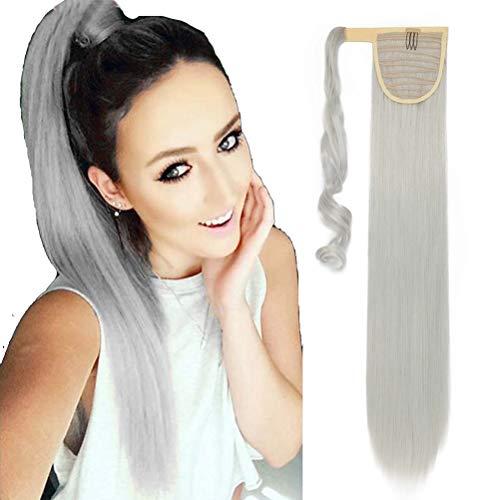 Coda di Cavallo Extension Clip Capelli Naturale Lisci Dritto Ponytail Hair Extensions Wrap on Posticci Sintetici Lunghi 66cm Grigio argento