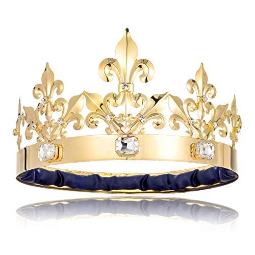 STONEJYA Adults King Crowns Men Birthday King Crown Costume Prom King Crowns Bridal Wedding Men...