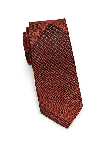 PUCCINI schmale Krawatte│6cm skinny slim Tie, Binder, Schlips│einfarbiges modernes, trendiges Muster in Braun (Kupfer)