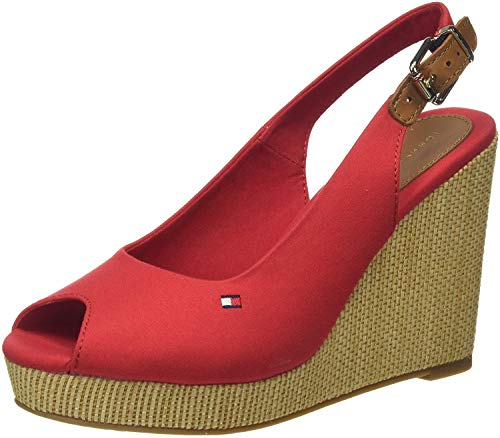 Tommy Hilfiger Damen Iconic Elena Sling Back Wedge Peeptoe Sandalen, Rot (Primary Red XLG), 40 EU