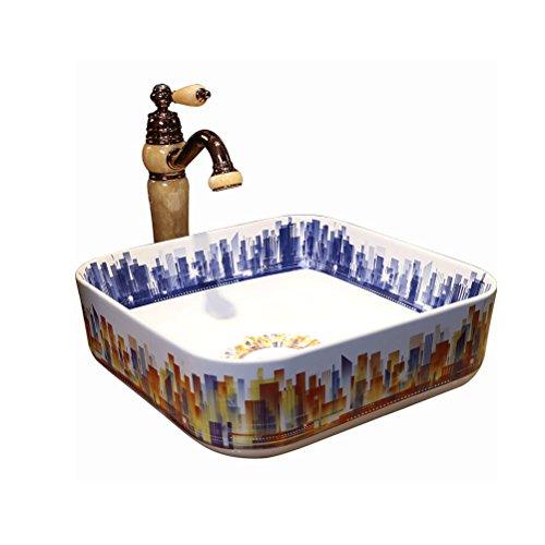 Opzetkom rechthoekige wastafel badkamer wastafel kunst wastafel geringe omvang (40x43x15cm)