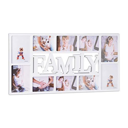Relaxdays Bilderrahmen Familie, Fotorahmen für 10 Bilder, Collage Family zum Hinhängen, HxBxT: 36,5 x 72 x 2 cm, weiß