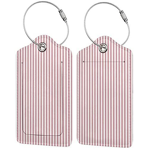2 etichette per bagagli, in pelle PU, etichette per la privacy, con passante in acciaio inox, per borsa da viaggio, valigia, materasso, strisce strette, bandiera USA, rosso e bianco