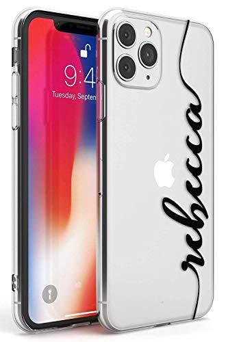 El Nombre Personalizado Negro Claro Funda de Teléfono de Goma Slim Cover para iPhone 11 Pro Personalizado Iniciales Moda Linda Monograma