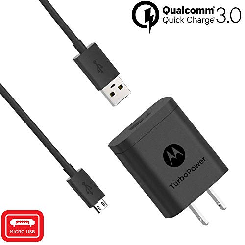 Motorola TurboPower 18 QC3.0 Charger with 3.3 Foot Micro-USB Cable for Moto E5 Plus, E5 Supra, G5 Plus, G5S, G5S Plus, G6 Play/Forge [NOT for G6 or G6 Plus] (Retail Box)