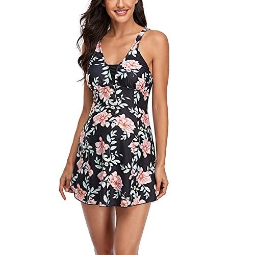 Traje de baño de mujer con estampado floral falda halter trajes de baño bikini, rosa, S