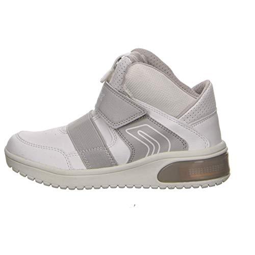 Geox XLED J847QA Jungen High-Top Sneaker,Kinder Stiefel,Sportschuh,Klettschuh,Sneaker-Stiefel,mid Cut, Doppelklett-Verschluss,Blinklicht,LED,Licht,White,EU 31