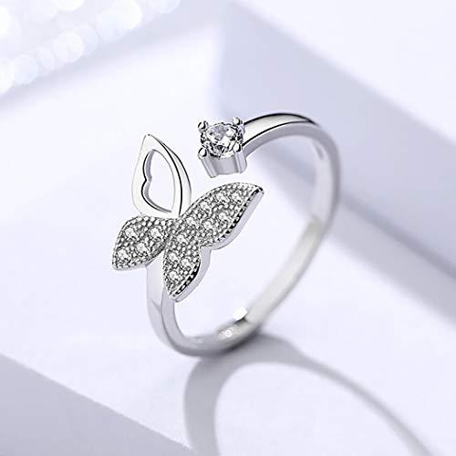 Edary Anillo de mariposa vintage de plata con cristales abiertos, ajustable, para mujeres y niñas