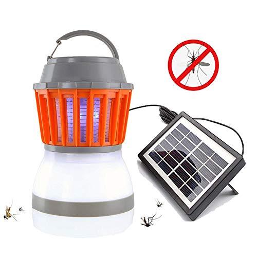 Lamp-XUE Vliegenval, elektrisch UV-licht, op zonne-energie, insectenlamp, camping, lantaarn, 2-in-1, draagbaar via USB