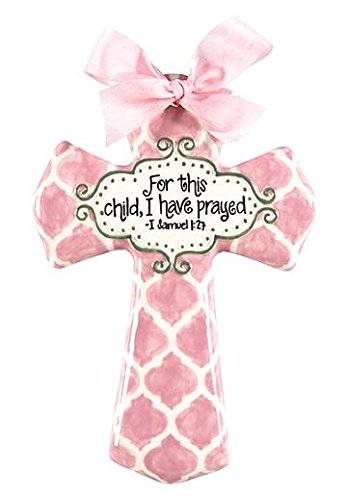 """'For This Child I Have Prayed' Pink Quatrefoil 8"""" Wall Cross for Baby or Child's Room"""