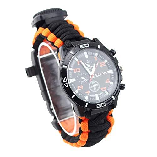 MSQL Reloj Deportivo al Aire Libre, Pulsera de Supervivencia Multifuncional, Silbato de Supervivencia, Palo de Fuego, brújula, termómetro, Equipo al Aire Libre,Orange+Black