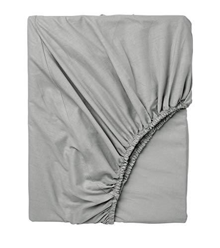 Exotic Cotton Sábana Bajera Ajustable Cama 150 100% Algodón - Bajera con Goma Elástica para Colchón de 150x195x25cm - Suave y sin Pérdida de Color Tras Lavado - Color Gris